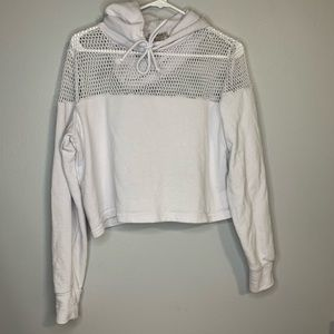 Forever 21 White Mesh Workout Pull Over Hoodie